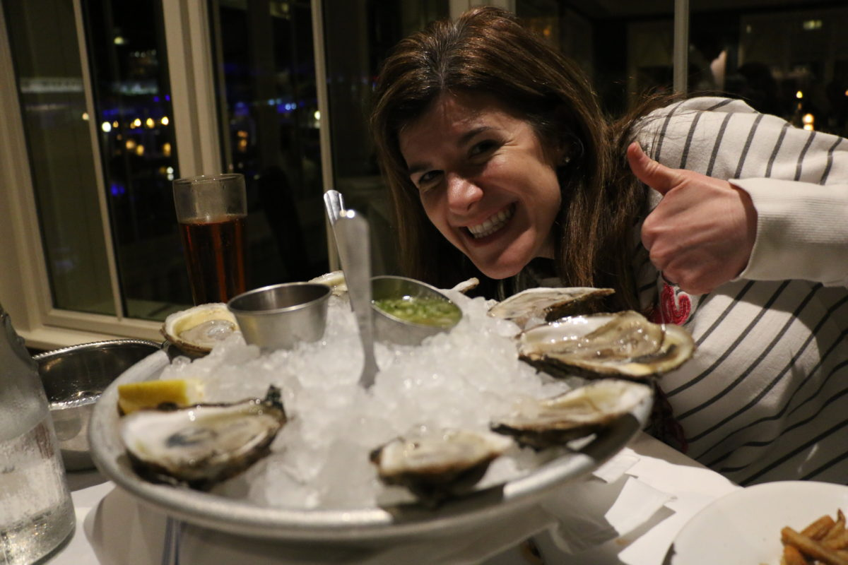 Leslie with oysters