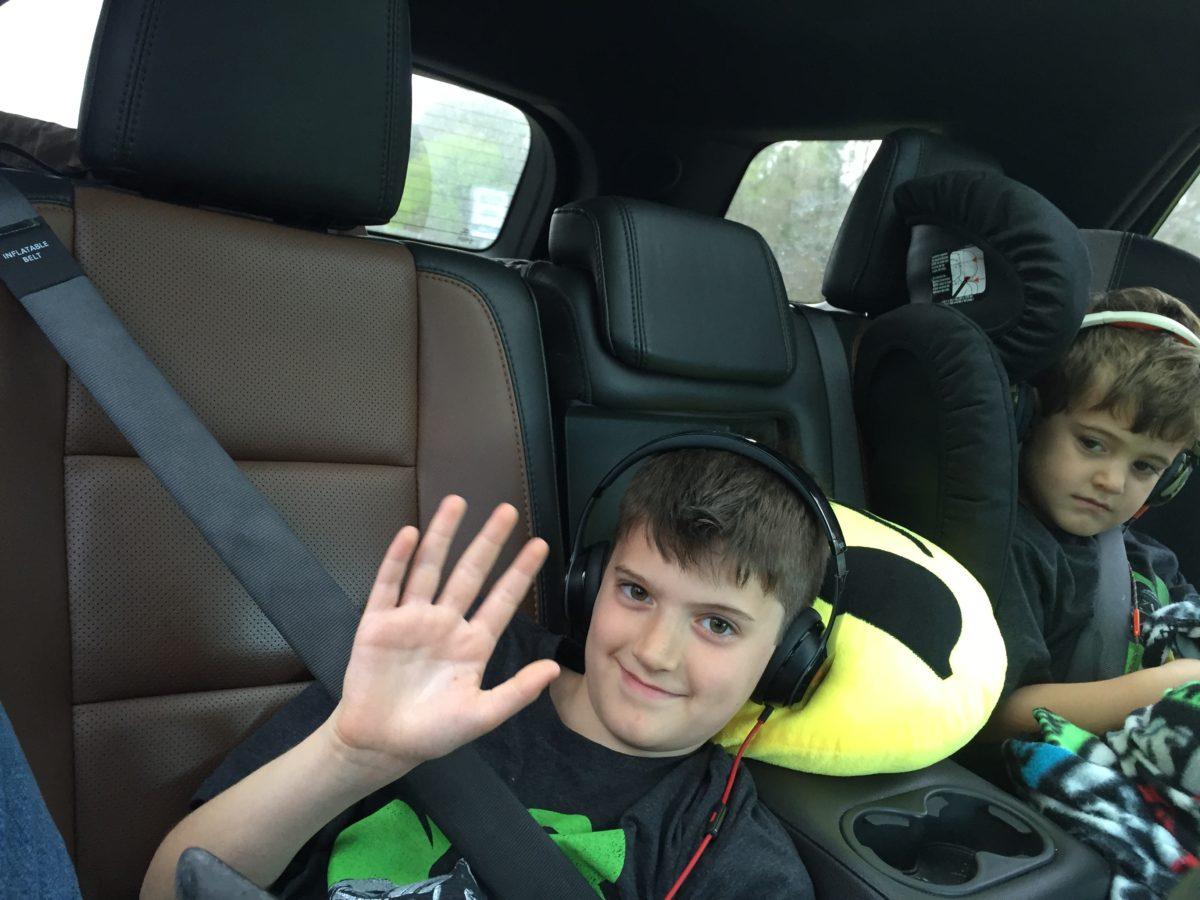 Aidan waving